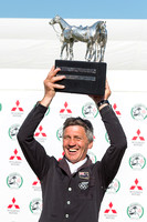 Winner Andrew Nicholson (NZL) celebrates with the trophy at the end  of the 2017 Mitsubishi Motors Badminton Horse Trials.NEF
