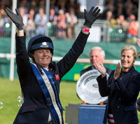 Pippa Funnell winner of the 2019  Land Rover Burghley Horse Trials at the Prize Giving Ceremony