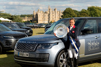 Pippa Funnell winner of the 2019 competition with the Landrover Plate in Front of Burghley House